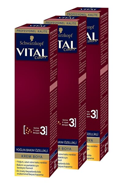 SCHWARZKOPF VITAL Colors Krem Saç Boyası 8-77 Tarçın Bakır X 3 Adet