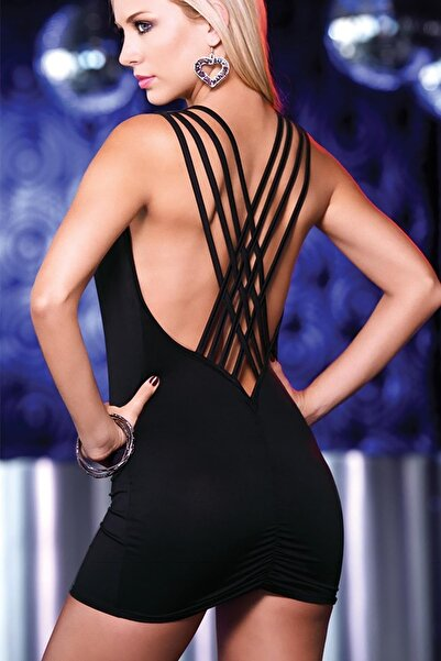 Kadın Siyah Özel Tasarım  Mini Elbise
