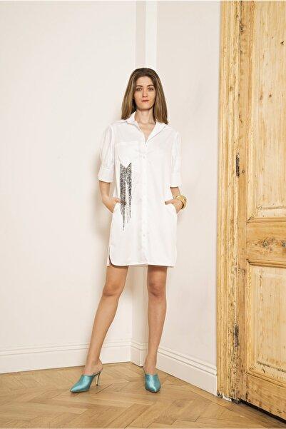 Mehtap Elaidi Kadın Oversize Cebi Işleme Detaylı Gömlek Elbise