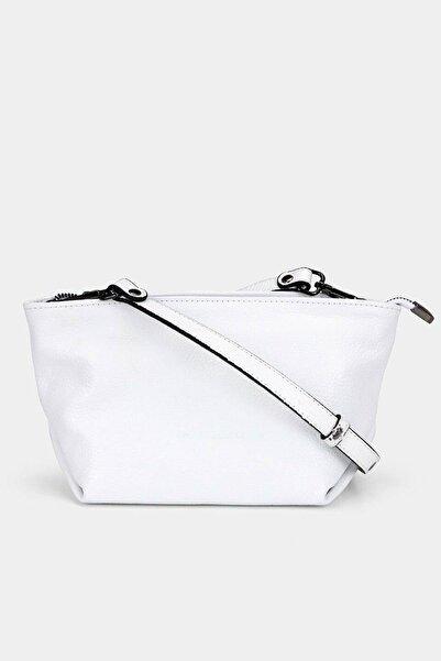 Hotiç Hakiki Deri Beyaz Çanta&Aksesuar Mini (Çapraz) Çanta