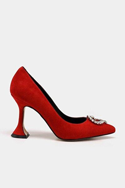 Hotiç Hakiki Deri Kırmızı Kadın Stiletto