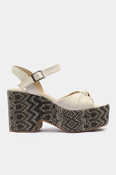 Hotiç Hakiki Deri Kemik Kadın Topuklu Sandalet