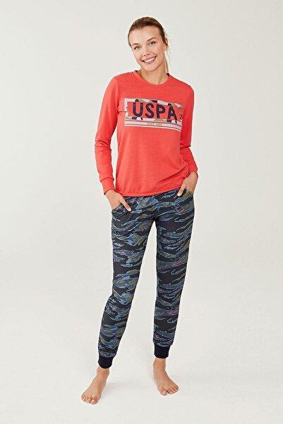 U.S. Polo Assn. Kadın Mercan Yuvarlak Yaka Pijama Takım