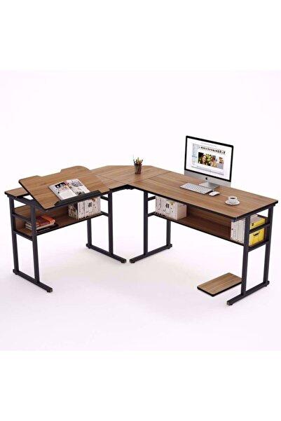 yasmak L Şeklinde Masa Kitaplık Köşe Bilgisayar Ofis Masası Ile