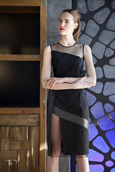 Ece Salıcı Kadın Tül, Deri, Pamuk Saten Çok Parçalı Abiye Elbise