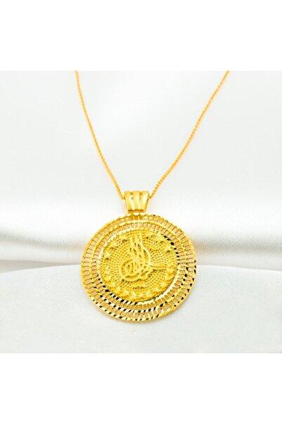 Label Tuğralı Taşsız 14 Ayar Sarı Altın Kolye BLZKCM787-14KL