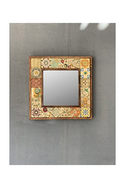 Oscar Stone Decor Ahşap Çerçeveli Mozaik Doğaltaş Ayna 33 cm x 33 cm
