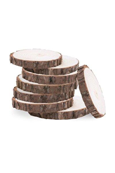 Ottoidea Doğal Ahşap Zımparalı Odun Dilimleri Hobi Magnet Süsleme Ahşap Boyama 5-7 Cm 50 Adet