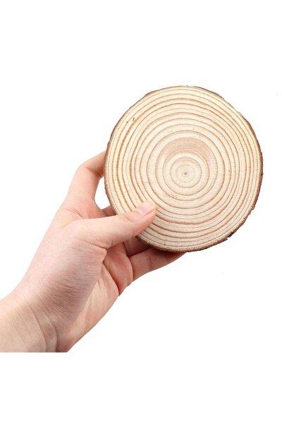 Ottoidea Doğal Ahşap Zımparalı Odun Dilimleri Hobi Magnet Süsleme Ahşap Boyama 11 Cm 30 Adet