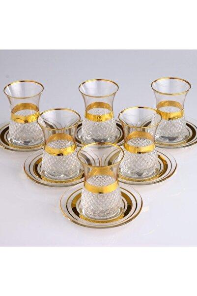 Kristal Vizyon Dekor Plus Altın Bant 6 Kişilik Çay Takımı
