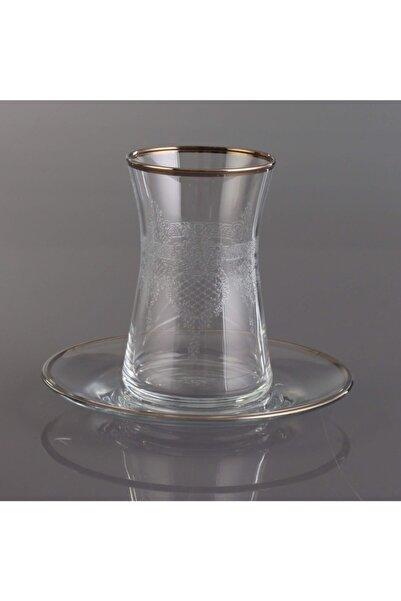Kristal Selin 3mm Platin Bant 6 Kişilik Çay Takımı