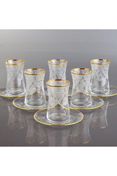Kristal Helena Altın 6 Kişilik Dekoratif Çay Bardak Takımı