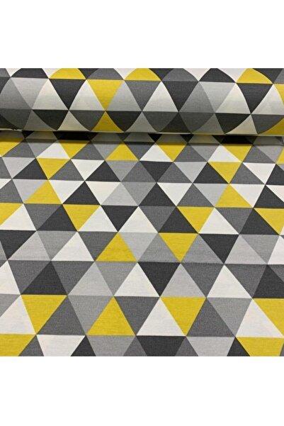 Yuka Renkli Üçgenler Geometrik Desen Duck Kumaşı