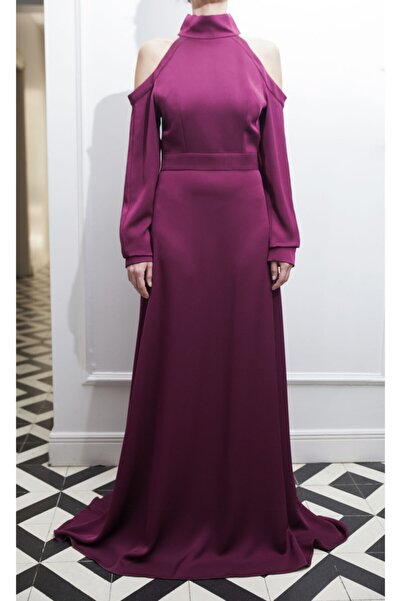ÖZLEM AHIAKIN Kadın Omuz Detaylı Bordo Uzun Elbise