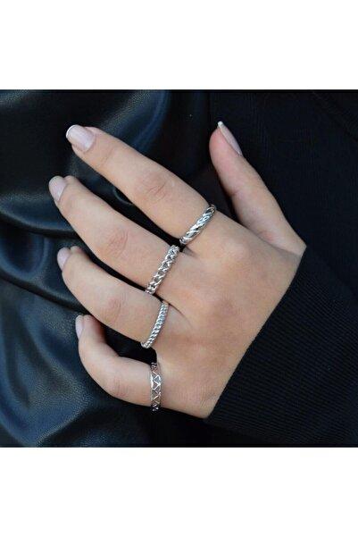 Mysoho Accessories Kadın Kombin Eklem Yüzüğü 4 Adet