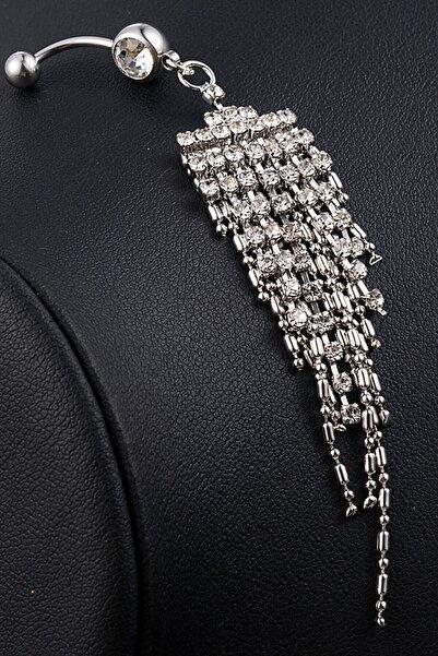 Paslanma Çelik Bayan Kadın Taşlı Sallantılı Göbek Piercing Pirsink 8680348419137