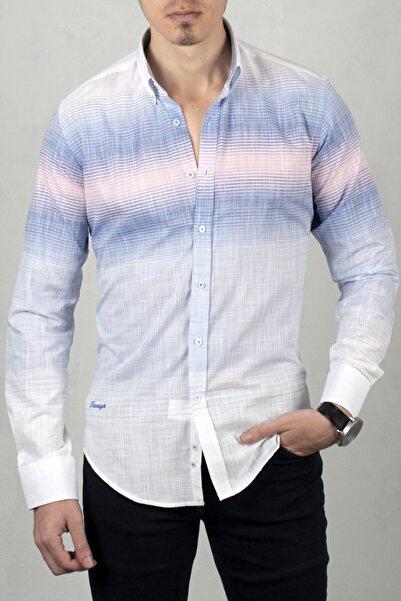 DeepSEA Beyaz-pembe Uzun Kol Gömlek 2006022