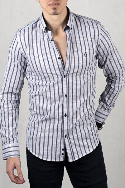 DeepSEA Gri Çizgili Uzun Kol Gömlek 2006031