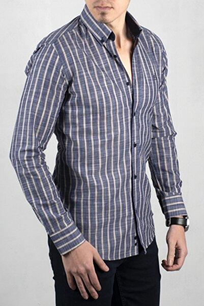 DeepSEA Lacivert-bej Çizgili Uzun Kol Gömlek 2006031