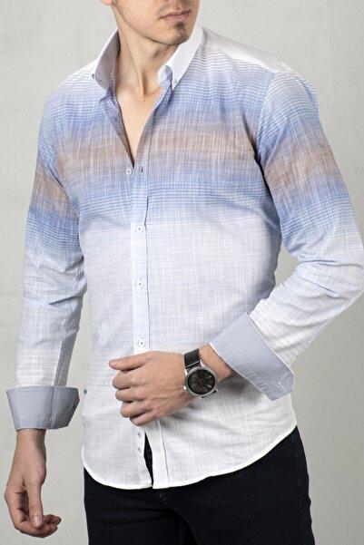 DeepSEA Beyaz-kiremit Uzun Kol Gömlek 2006022