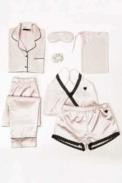 FOR YOU MODA 7 Li Dantelli Saten Pijama Takım