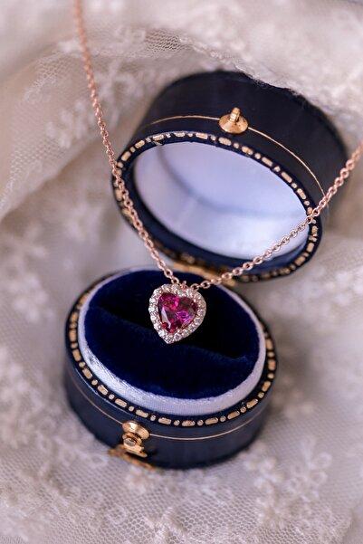 Crystal Diamond Zirconia Kadın Pembe Labaratuvar Pırlantası 1 Karat Yakut Kalp Kolye