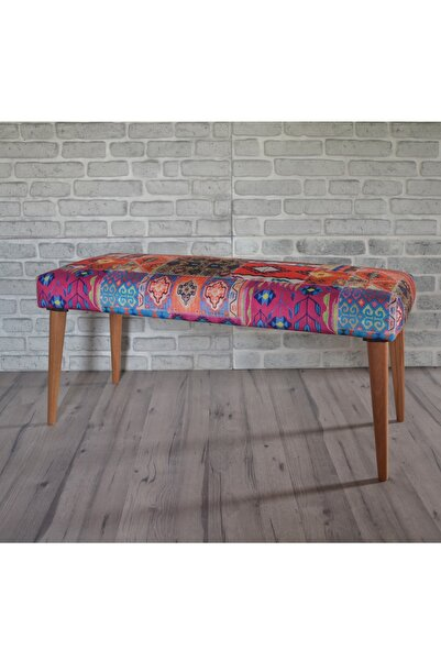 Sanal Mobilya Retro Bench Turuncu Kilim Desenli