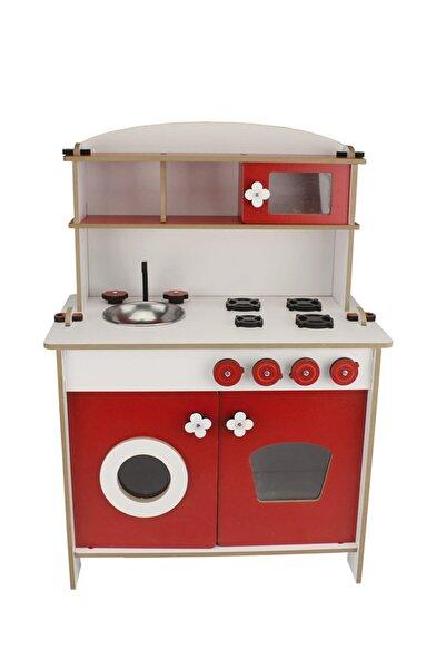 Okutan Hobi Ahşap Oyuncak Kırmızı Renk Eğitici Mutfak Oyun Seti