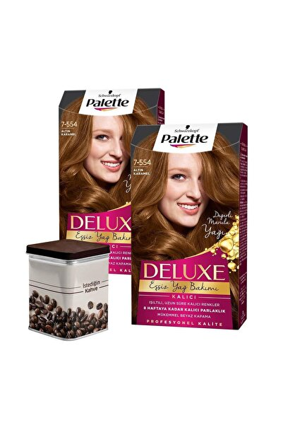 Palette 2 Adet 7-554 Altın Karamel  Saç Boyası+ Türk Kahvesi