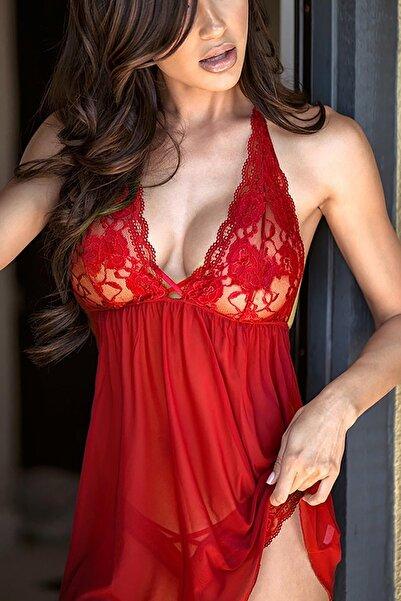 Kadın Kırmızı Merry See Şık Dantel Gecelik