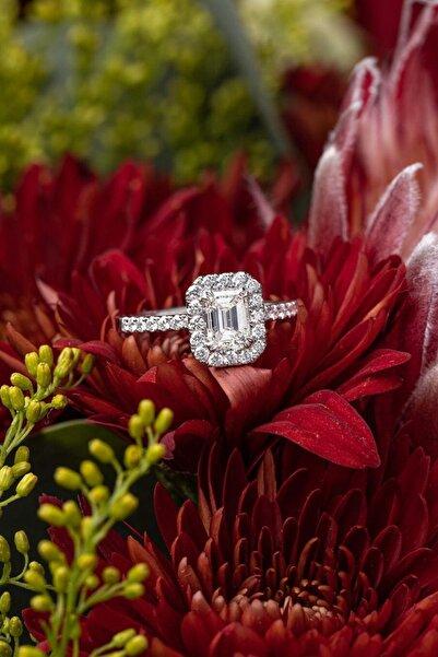 Crystal Diamond Zirconia Labaratuvar Pırlantası 1 Carat Baget Tektaş Yüzük