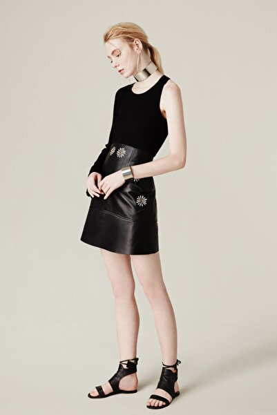 House of OGAN Daisy Leather Skirt