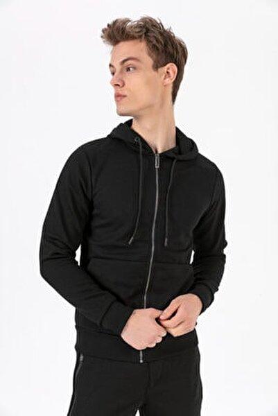 9532 Siyah Fermuarlı Kapşonlu Sweatshirt