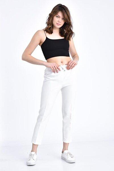 Modkofoni Kadın Belden Lastikli Ve Bağcıklı Beyaz Bilek Pantolon