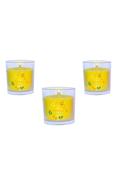 Citronella Sinek Kovan Bardak Mum 3 Lü Set