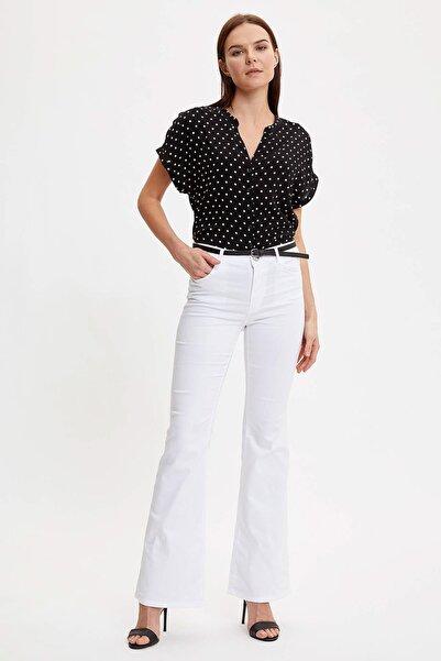 Kadın Siyah Baskılı Desenli Kısa Kollu Gömlek I6173AZ.20SM.BK27