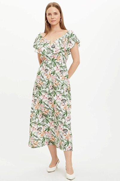 Kadın Beyaz Çiçek Desenli Fıfırlı Dokuma Elbise R1740AZ.20SM.WT46