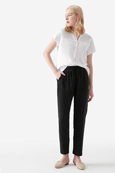 Kadın Bağcıklı Siyah Keten Pantolon 100782-900