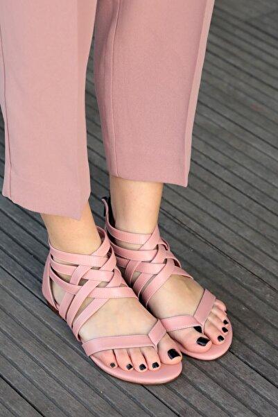 Mio Gusto Kadın Linda Pudra Kafesli Sandalet
