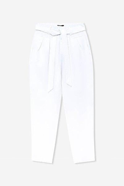 Kadın Kemerli Beyaz Pantolon 101231-620