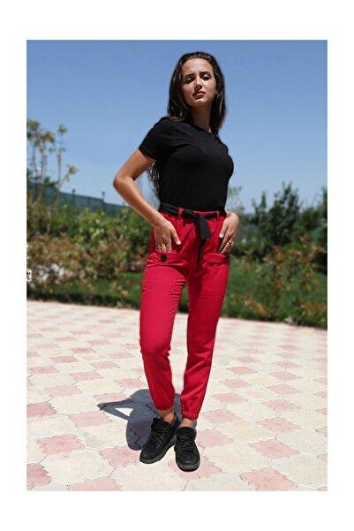 Bigdart Kadın Kırmızı Bel Kuşak Çift Cepli Pantolon 6436