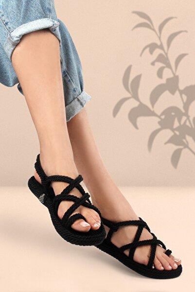 Gökhan Talay Siyah Halat Kadın Sandalet