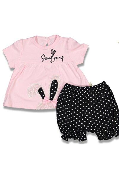 ARI Kız Bebek Pembe Siyah Pullu Tavşanlı Takım