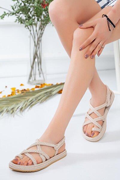 meyra moda Halat Sandalet Krem