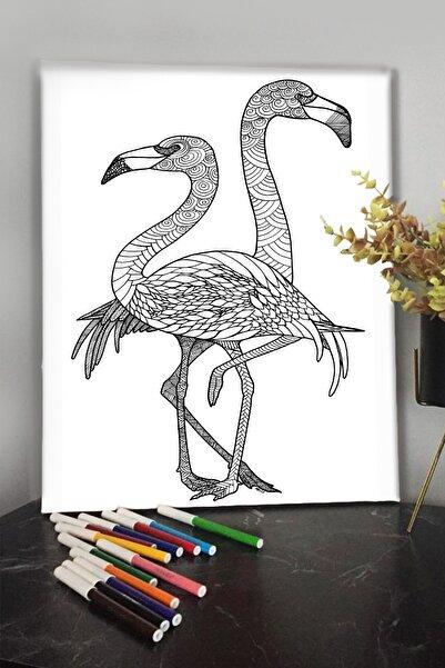 KanvasSepeti Pelikan 1 40x30cm Çocuklar Için Özel Boyanabilir Tablo Tuval Mandala 12li Keçeli Kalem Hediyeli