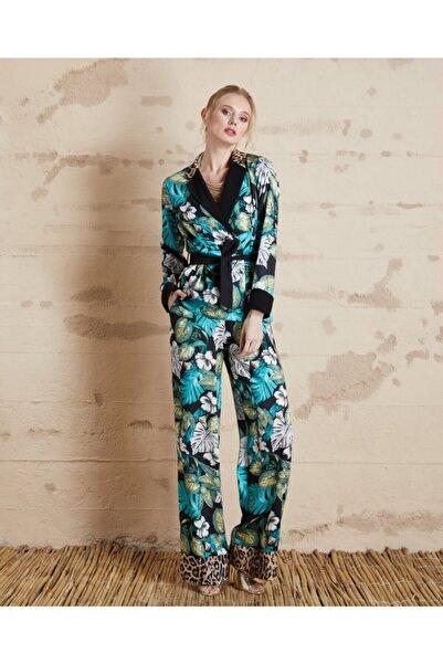SERPİL Kadın Yeşil Çiçek Desenli Pantolon 32128