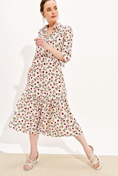 Trend Alaçatı Stili Kadın Ekru Eteği Büzgülü Dokuma Gömlek Elbise Dnz-3187