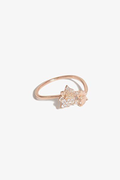 Lapidore Kelebek Etkisi Zirkon Taşlı Rose Gold Yüzük