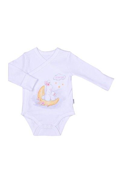 kitikate Organik Angel Kız Bebek Kruvaze Uzun Kol Badi Pembe