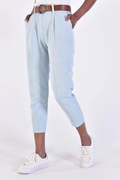 Addax Kadın Bebe Mavi Kemerli Pantolon PN4204 - T3 ADX-0000020952